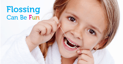 Flossing can be fun - little girl flossing