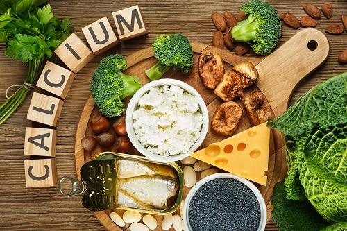 Calcium - photo of cheese, broccoli, mushrooms, etc.