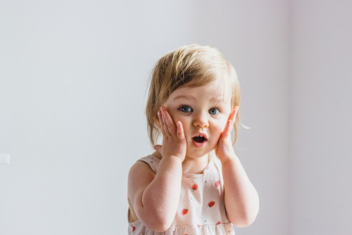 toddler exclaims